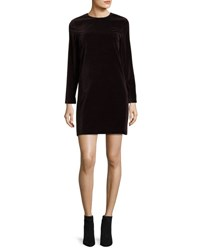 Theory Wynter Stretch Velvet Shift Dress Plum