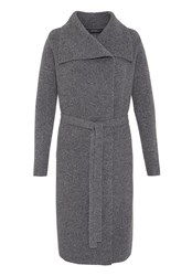 Hallhuber Knit Coat With Large Collar Grey