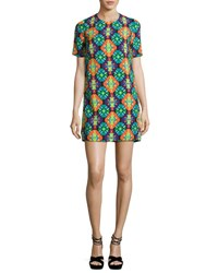 Andrew Gn Geometric Print Short Sleeve Shift Dress Purple