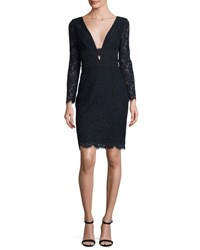 Diane Von Furstenberg Viera Lace Long Sleeve V Neck Cocktail Dress Deep Night Black Deep Night Black
