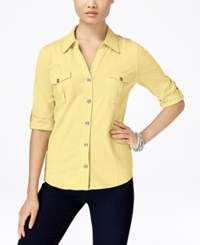 Styleandco. Style And Co. Roll Tab Jersey Button Down Shirt Only At Macy's Soft Sun