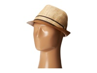 Tommy Bahama Raffia Fedora With Brown Brim Natural Traditional Hats Beige