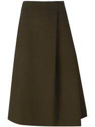 Jil Sander Pleated A Line Mid Length Skirt Green