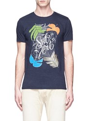 Scotch And Soda Tropical Leave Print Cotton T Shirt Grey