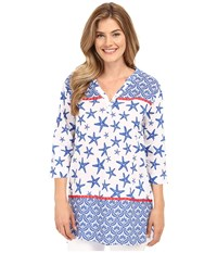 Hatley Starfish Women's Beach Tunic Sapphire Starfish Women's Clothing White