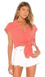 Seafolly Button Beach Shirt In Coral. Vintage Coral