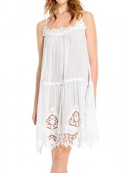 Leon Max Embroidered Cotton And Silk Voile Short Dress