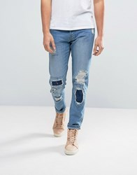 Waven Tapered Fit Jeans In Quarry Blue With Patchwork