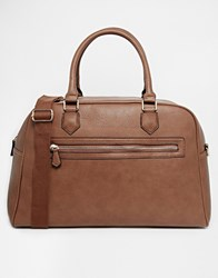 New Look Faux Leather Holdall Bag Mocha