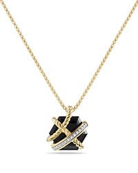 David Yurman Cable Wrap Necklace With Black Onyx And Diamonds In 18K Gold