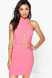 Boohoo Strappy Bodycon Dress Coral