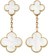 Van Cleef And Arpels Magic Alhambra Gold Mother Of Pearl Earrings Yellow Gold