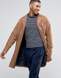 Asos Twill Overcoat In Camel Camel Tan