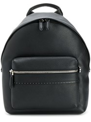 Salvatore Ferragamo Pebbled Microstud Backpack Black