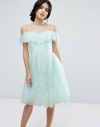 Chi Chi London Midi Dress In Eyelash Lace With Frill Overlay Green