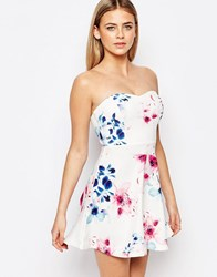 Lipsy Floral Print Bandeau Prom Dress Multi Floral