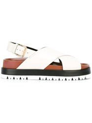 Marni Fussbett Crossover Sandals Women Calf Leather Leather Rubber 37 White