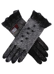 Dents Ladies Cotton Crochet Gloves Black