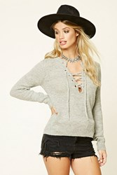 Forever 21 Marled Knit Lace Up Sweater Top