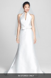 Jesus Peiro Mikado Satin Halter Fluted Dress In Stores Only Off White