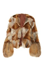 Anna Sui Pachwork Fox Fur Coat Neutral