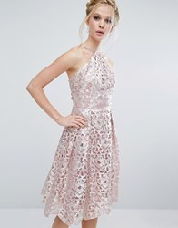 Chi Chi London Cutwork Midi Dress In Metallic Blush Silver Pink