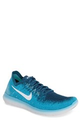Nike Men's Free Run Flyknit 2017 Running Shoe Blue Lagoon Platinum Blue