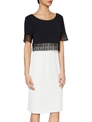 Gina Bacconi Moss Crepe Dress With Lattice Trim Black Chalk