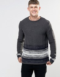 Bellfield Striped Bottom Wide Round Neck Knitted Jumper Grey