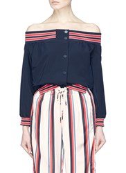 Monse 'Upside Down' Off Shoulder Jacket Blue