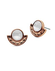 Lonna And Lilly Faux Pearl Stone Accented Stud Earrings Rose
