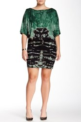 Go Couture Boatneck Tie Dye Drop Waist Dress Plus Size