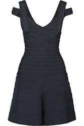 Herve Leger Flared Bandage Mini Dress Blue