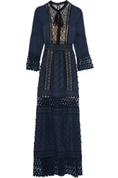 Self Portrait Spring Floral Appliqued Guipure Lace And Crepe Maxi Dress Navy