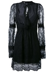 Wandering Lace Panel Dress Women Polyamide Polyester 40 Black