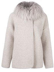Fabiana Filippi Fur Collar Jacket Nude And Neutrals