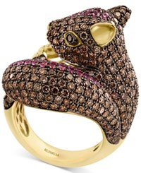 Effy Diamond 4 1 5 Ct. T.W. And Pink Sapphire 1 2 Ct. T.W. Squirrel Ring In 14K Gold Yellow Gold
