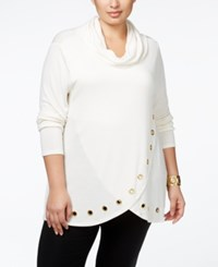 Belldini Plus Size Cowlneck Grommeted Tulip Hem Sweater Ivory Gold