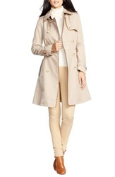 Lauren Ralph Lauren Women's Faux Leather Trim Trench Coat New Racing Khaki