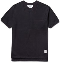 Thom Browne Embroidered Cotton Jersey T Shirt Midnight Blue