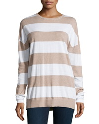 Minnie Rose Long Sleeve Striped Top Taupe Heat