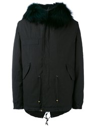 Mr And Mrs Italy Embroidered Midi Parka With Removable Fox Fur Men Cotton Leather Acrylic Alpaca M Black