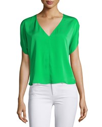 Milly Dolman Sleeve V Neck Top Green Women's