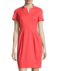 Lafayette 148 New York Yaelle Short Sleeve Pleated Dress Passion