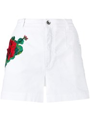Dolce And Gabbana Embroidery Denim Shorts White