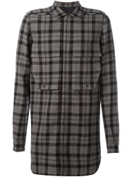 Rick Owens Plaid Flannel Shirt Black