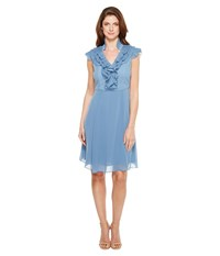 Adrianna Papell Chiffon Fit And Flare Dress With Pleated Ruffle Collar V Neckline Steel Blue Women's Dress
