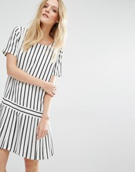 Y.A.S July Dress In Mono Stripe Black White Multi