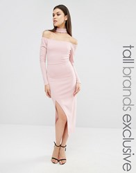 Naanaa Tall Bardot Pencil Dress With Neck Detail And Thigh Split Mauve Purple