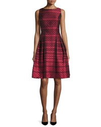 Carmen Marc Valvo Sleeveless Scalloped Jacquard Cocktail Dress Red